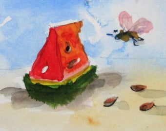 Watermelon and Bee Aceo original miniature watercolor painting Artist trading Card Art by Delilah
