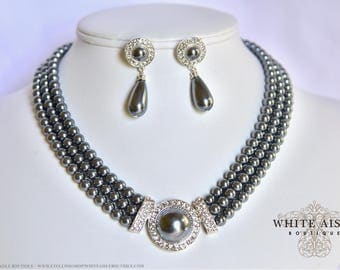 Gray Pearl Bridal Jewelry Set Crystal Multi Strand Wedding Necklace Earrings Vintage Inspired Prom Evening Pageant Jewelry