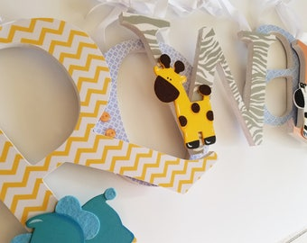 Baby Boy Wood Letters, Safari, Wooden Wall Name Sign, Animal Prints, Jungle Room Theme Decor, Pastel and Yellow, Elephant, Zebra