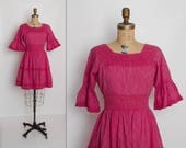 vintage 1960s Mexican dress | 60s magenta pink dress with crocheted lace and trumpet sleeves