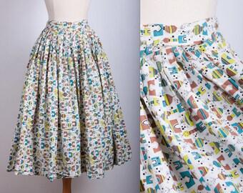 vintage 1950s novelty print skirt   Russian circle skirt