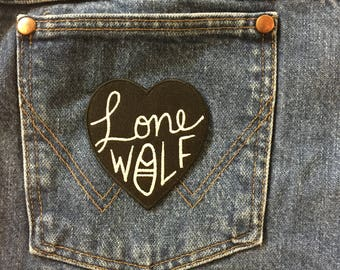 """Black Heart """"Lone Wolf""""  iron-on embroidered Patch by Crywolf // handmade in Canada // trend // unisex holiday gift idea  under 10"""