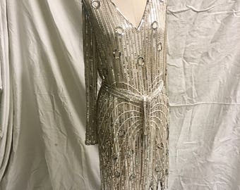 Vintage 80's Lillie Rubin completely beaded and sequined silver dress in amazing shape