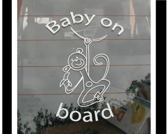 BABY ON BOARD Car Sticker - Little Monkey
