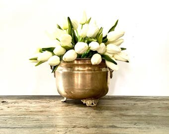 Footed Brass Planter /  Made In India / Solid Brass Footed Planter with Handles