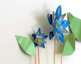 In Full Bloom #6– Blue Flower Sculpture – Metal Wall Art