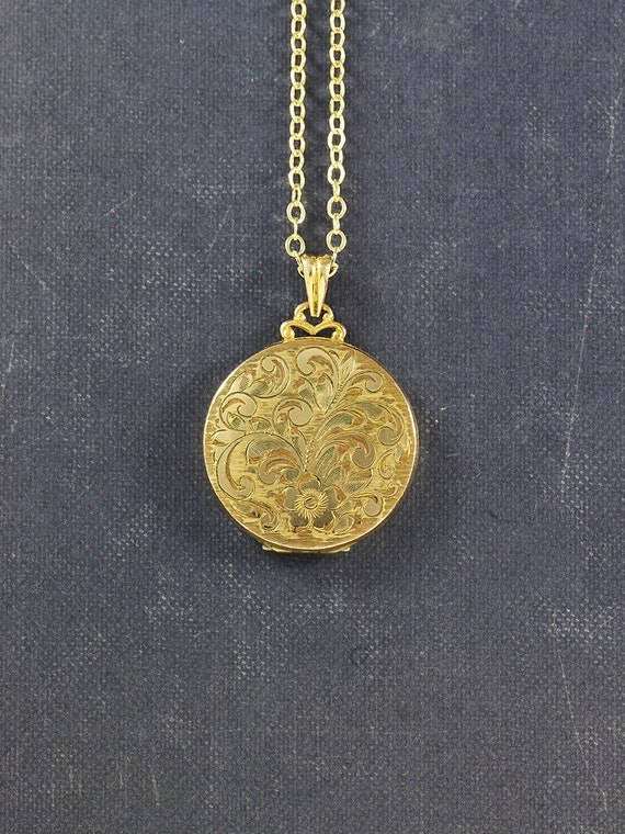 Gold Filled Locket Necklace, 12K Round Vintage Hayward Pendant with Fancy Top - Floral Swirl