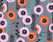 Pre-Order** Cotton and Steel Santa Fe Hollyhocks Grey by Sarah Watts by the Half Yard