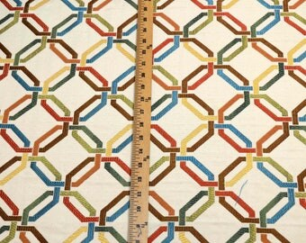 Geometric Contemporary Upholstery Fabric Multi Colored Linky Pastel