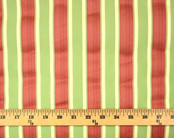 REMNANT Fabric 1.75 Yards Green Red Stripe