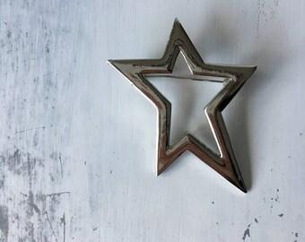 Silver Vintage Star Brooch / Hat Pin / Jacket Pin / Hair Clip