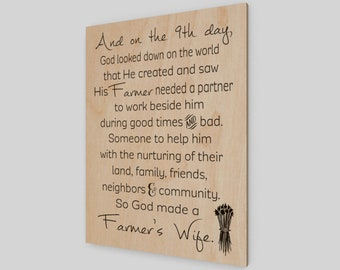 God created a farmer's wife, Wood Print, Wood Sign, Wedding Sign, Wedding Gift, Farmhouse, Farmer's Wife, Birthday Gift, Rustic Sign
