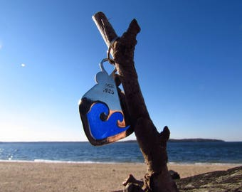 Blue Beachglass Sterling Silver Wave Pendant