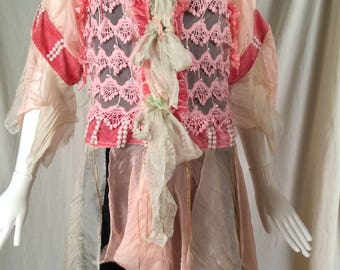 Lia Silk Jacket Art to Wear Cinderella Hippie Boho with Vintage Lace Antoinette Style Marie