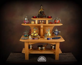 Floor style Two tier Meditation altar with a removable pedestal