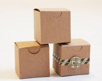 Kraft Natural Gift Box 2 x 2 x 2  (SET of 8)  || Rustic Wedding Boxes, Ring Box,  Party Favor Box,  Brown Jewelry Box, Truffle Box
