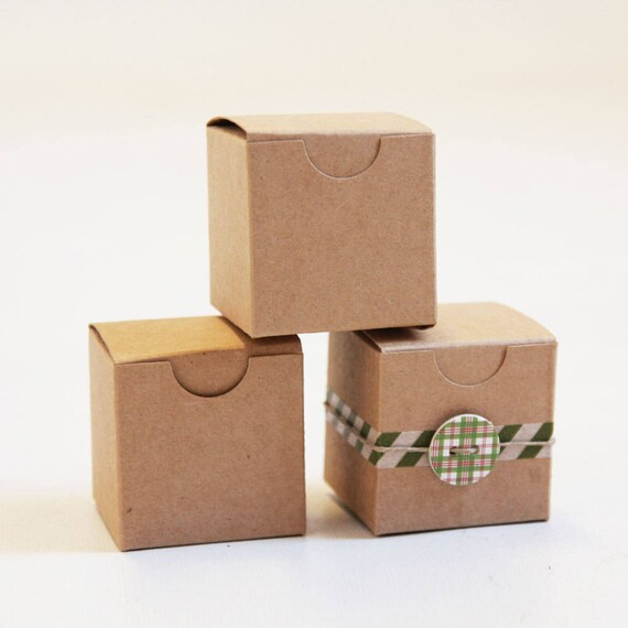 Kraft Natural Gift Box 2 x 2 x 2  (SET of 8)  || Rustic Wedding Boxes, Ring Box,  Party Favor Box,  Brown Jewelry Box, Truffle Box