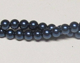 8mm Navy Blue Glass Pearl Beads - 56 pieces of Navy Glass Pearls (equal to 16 inch strand)