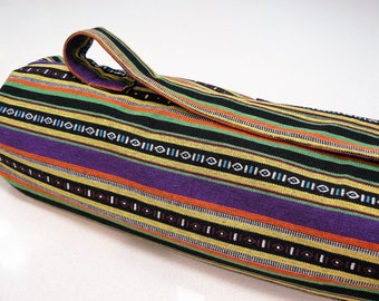 NEW XL Yoga Bag - Exercise mat bag - purple yellow black and green striped with Large velcro pocket