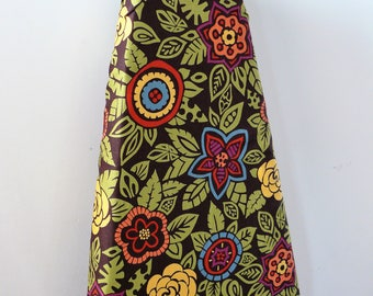 Ironing Board Cover - olive green leaves with muted shades of blue red purple orange and mustard flowers