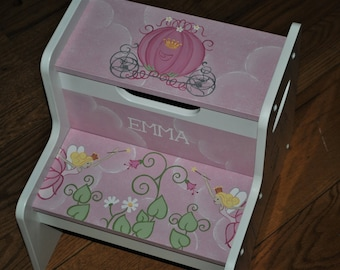 Fairy Princess Coach - Pink or Lavender - Kids step stool