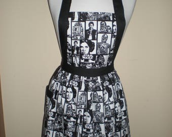 Candy striper style vintage apron black white Star Wars print  polka dots great for kitchen teas bridal showers cotton fabric Ready to ship