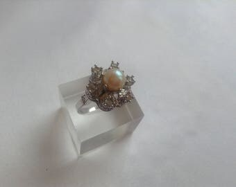 Pearl and Diamonte Ring, 1970s, Expandable