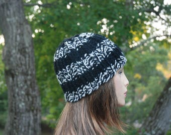 Black and White Hat, Black Hat, Knit Hat, Winter Hat, Ski Hat, Men's Hat, Women's Hat, Hand Knit Hat, Striped Hat, Knitted Hat