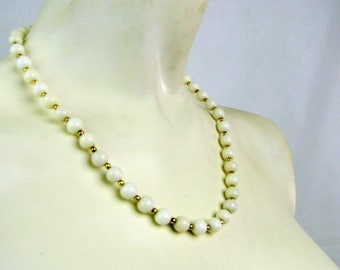 Vintage White Milk Glass Beaded Choker Necklace | Gold Tone Bead Spacers | Wedding