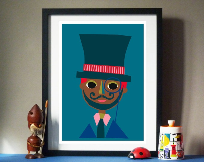 Mr Hat Man by Jay Kaye  A3 print Bright Colourful print wall Art Fun