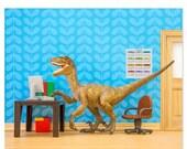 FALL SALE Velociraptor dinosaur decor art print: Fast Forwards