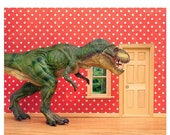 FALL SALE Fun T. Rex dinosaur decor art print for kids rooms: Pizza Delivery