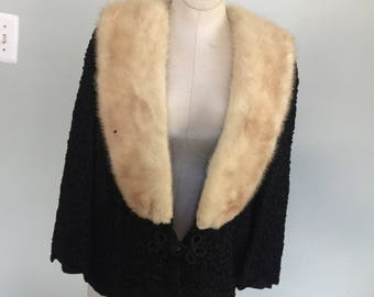 Handmade Vintage Ribbon Coat with mink collar