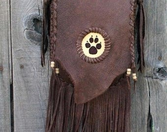 ON SALE Fringed leather handbag with wolf paw totem , Crossbody handbag ,Leather handbag