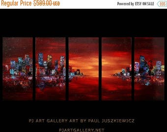 "17% OFF /ONE WEEK Only/ The City Scape night 70""X30"" canvas set Paul Juszkiewicz"