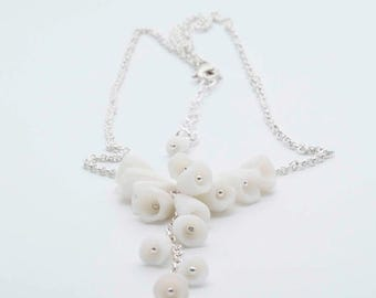 SALE Los Cancajos Porcelain and Sterling Silver Necklace -  White  Ceramic  Flowers and Sterling Silver , Statement Necklace, Porcelain Neck