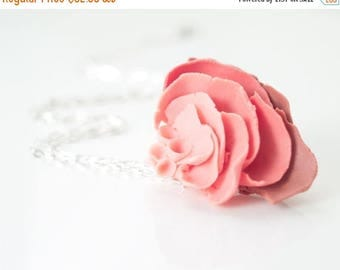 SALE Large Flower Pendant Necklace,  Porcelain Rose Dark Light Pink  Chain Necklace IlDeRe Porcelain Handcrafted Jewelry Handmade Artisan Je