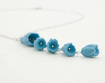 SALE Porcelain Blue Flower Necklace Pendant , Sterling Silver Hammered  Necklace , Handmade Floral Porcelain Jewelry