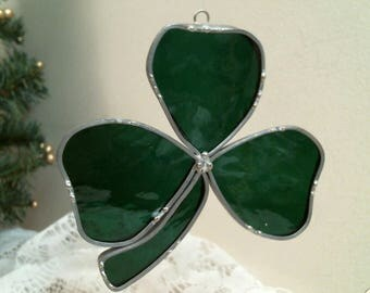 shamrock 3 leaf clover stained glass suncatcher or ornament