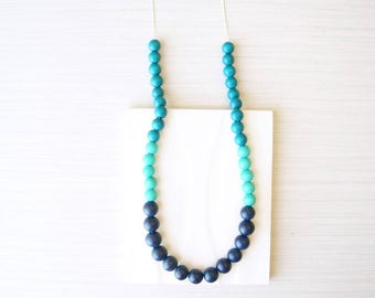 Blue Wood Necklace, Nautical Jewelry, 5th Anniversary Gift, Navy, Turquoise, Teal, Nickel Free Sterling Silver, Colorblock, Long