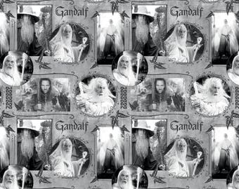 Lord of the Rings from Camelot Fabrics - Digitally Printed Full or Half Yard of Gandalf Fabric in Black + White