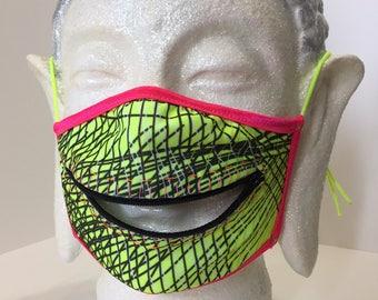 Matrix Raver zipper dust mask for Burning Man, EDC, raves, and other blacklight fun