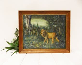 Original Wildlife Oil Painting--- African Lion in Jungle Habitat--- Framed 1969  Vintage Oil Painting