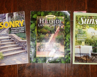 3 Sunset Books Masonry Building, Decorative Concrete, Hillside Landscaping How to build Walks, Walls & Patios, Outdoor Living Backyard Treat