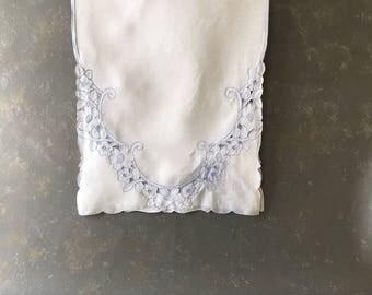 Vintage Embroidered Dresser Scarf, blue white, cutwork, embroidered, runner