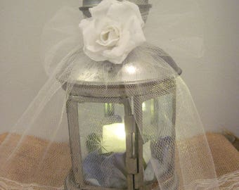 Vintage Lantern, Rustic Wedding Lantern Centerpiece, Fairy Garden Lantern