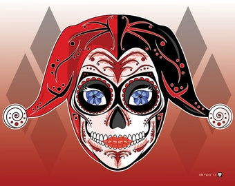 Harley Quinn Sugar Skull Print 11x14 print