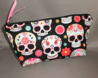 Day of the Dead - Cosmetic Bag - Makeup Bag - Large Zipper Pouch - Dia de los Muertos