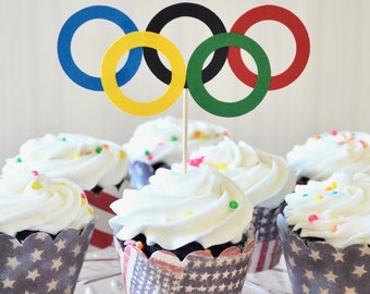 Olympic Rings Cupcake Toppers - Perfect for school events, Special Olympics, Birthdays, and the Olympic Games!