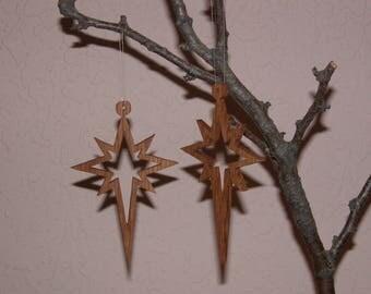 Christmas Holiday Star Ornaments - Hanging Tree Ornaments - 2 Wood Ornaments